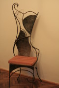 Iron  Sculptures - Wrough Iron Chair by Raluca Polea