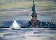Liberty Paintings - Yacht In New York Harbor by Donald Maier