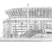 Baseball Fields Drawings - Yankee Stadium by Juliana Dube