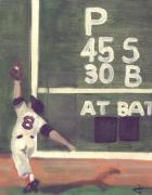 Red Sox Paintings - Yaz and the Green Monster by Jorge Delara