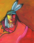 Contemporary Native Art Paintings - Yellow Face by Lance Headlee