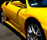 Right Side Photo Framed Prints - Yellow Ferrari Framed Print by Jeff Lowe