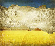 Field. Cloud Prints - Yellow Field On Old Grunge Paper Print by Setsiri Silapasuwanchai