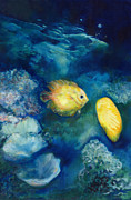 Under The Ocean Prints - Yellow Fish Print by Joan Hogan