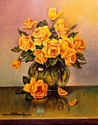 Yellow Drawings Originals - Yellow Roses Floral  by John Hudson Hawke