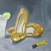 Pumps Painting Prints - Yellow shoes yellow nail paint and lemonade Print by Mohita Bhatnagar
