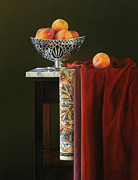 Dark Wood Table  Prints - Yellow Silver and Red Print by Barbara Groff