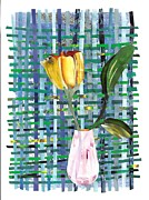 Home Decor Mixed Media - Yellow Tulip in a Pink Vase by Sarah Loft