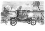 Florida Drawings Framed Prints - Yesterday and Today Framed Print by Murphy Elliott