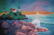 York Beach Painting Metal Prints - York Beach Maine Metal Print by Suzanne  Marie Leclair