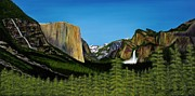 El Capitan Painting Prints - Yosemite Print by Clinton Cheatham