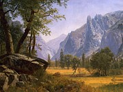 Mountainous Painting Posters - Yosemite Valley Poster by Albert Bierstadt