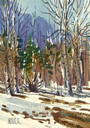 Yosemite Painting Framed Prints - Yosemite Valley in Winter Framed Print by Donald Maier
