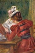 Girl Studying Posters - Young Girl Reading Poster by Pierre Auguste Renoir