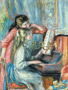 Girl Playing Piano Paintings - Young Girls at the Piano by Pierre Auguste Renoir