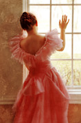 Anticipation Posters - Young Woman in Pink Ruffled Dress Poster by Jill Battaglia