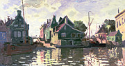 Town Pier Framed Prints - Zaandam Framed Print by Claude Monet