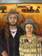 Grant Wood Paintings - Zeb and Ellen by Leah Saulnier The Painting Maniac