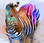 Rainbow Painting Prints - Zebra Dreams Print by Galen Hazelhofer