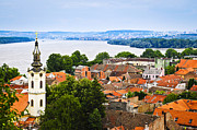 Colorful Village Prints - Zemun rooftops in Belgrade Print by Elena Elisseeva