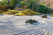 Buddhism Art - Zen garden at a sunny morning by Ulrich Schade