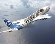 High Altitude Flying Art - Zero-g Airbus Aircraft, Artwork by David Ducros