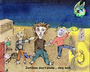 Skating Mixed Media - Zombies Dont Skate... Very Well by Cynthia  Richards