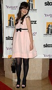 Zooey Deschanel Photo Prints - Zooey Deschanel Wearing A Luella Dress Print by Everett