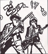Music Legend Drawings - ZZTop by Jeremiah Colley