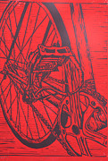 Linoluem Prints - Bike 3 Print by William Cauthern
