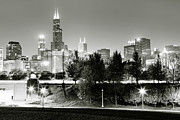 Drive Posters - Chicago Skyline at Night Poster by Paul Velgos