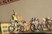Miniatures Acrylic Prints - Cyclists Acrylic Print by Bernard Jaubert