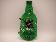 Wine-bottle Glass Art - Glass Clock by ALEXANDR and NATALIA GORBACHEV