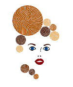 Hair Abstract Art Prints - Illustration of a woman in fashion Print by Frank Tschakert