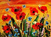 Landscape Framed Prints Mixed Media Framed Prints - Poppies Framed Print by Mark Kazav