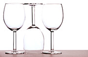 Glass Table Reflection Art - Wine glasses by Blink Images