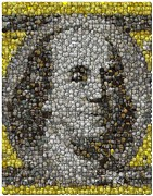 Benjamin Franklin Mixed Media Prints - 100 Dollar Bill Coins Mosaic Print by Paul Van Scott
