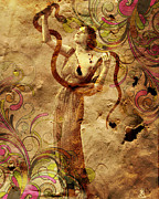 Snake Mixed Media - Winsome Woman by Chris Andruskiewicz
