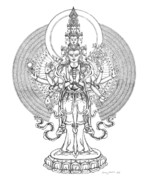 Buddhism Drawings - 1000-Armed Avalokiteshvara by Carmen Mensink