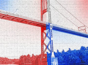 Highway Digital Art Prints - 1000 Island International Bridge 2 Print by Steve Ohlsen