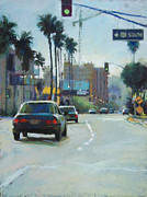 Los Angeles Pastels Framed Prints - 101 South Framed Print by Margaret Dyer