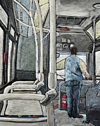 Montreal City Scenes Prints - 107 Bus on a Rainy Day Print by Reb Frost