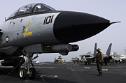 Grumman Prints - An F-14d Tomcat On The Flight Deck Print by Gert Kromhout