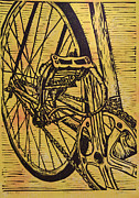 Lino Drawings Posters - Bike 3 Poster by William Cauthern