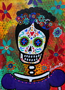 Skull Paintings - Frida Kahlo by Pristine Cartera Turkus