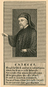Printed Prints - Geoffrey Chaucer, Father Of English Print by Photo Researchers