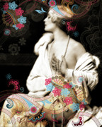 Nostalgic Mixed Media Prints - Goddess Print by Chris Andruskiewicz