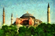 Byzantine Mixed Media Metal Prints - Hagia Sophia Metal Print by Dariusz Gudowicz