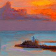 Lighthouse Sunset Framed Prints - RCNpaintings.com Framed Print by Chris N Rohrbach