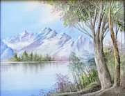 Hand Painted Ceramics Posters - 1116b  Mountain and Lake Poster by Wilma Manhardt